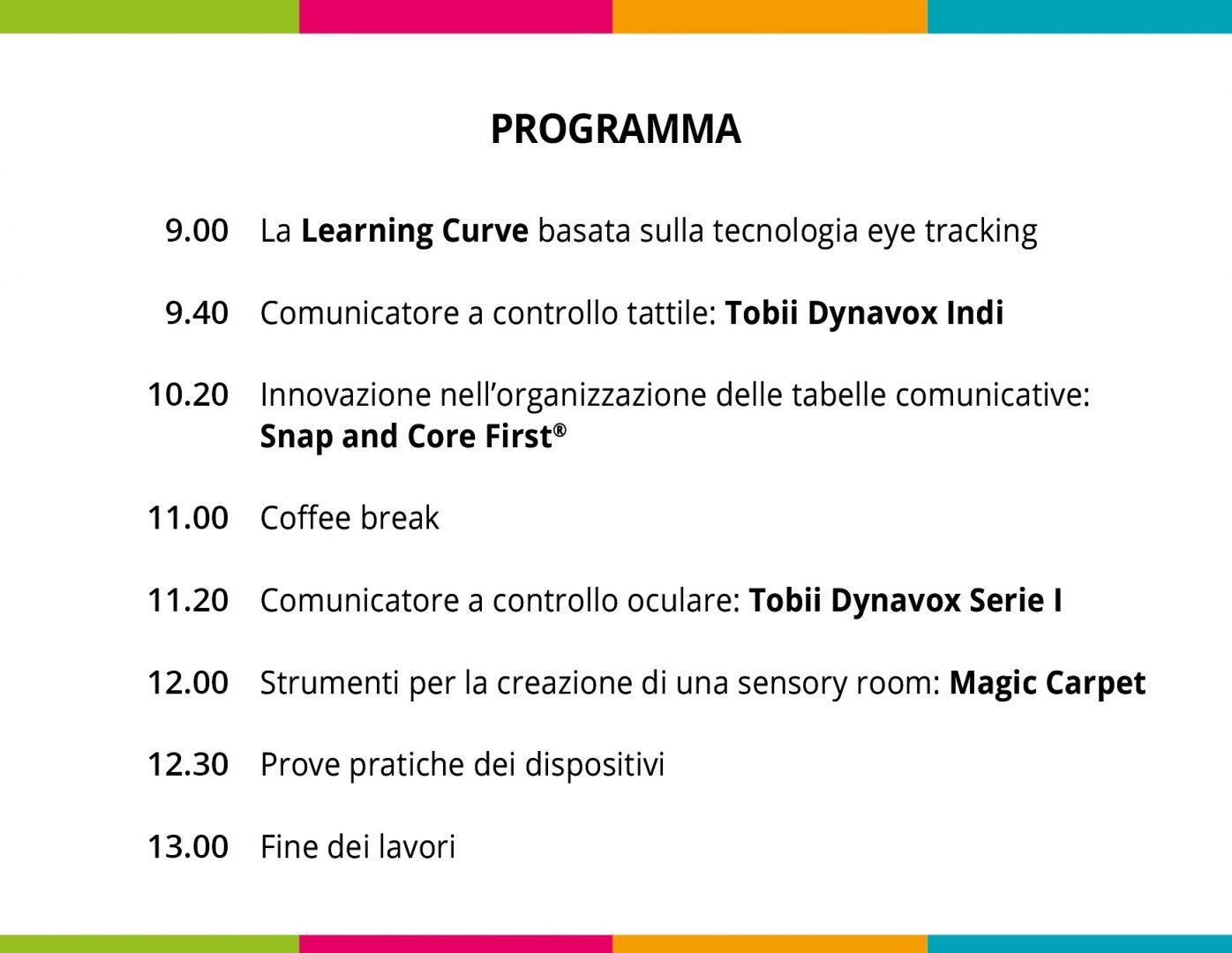 programma open day 25 settembre a Cagliari sui puntatori a controllo tattile e oculare