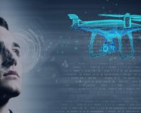 man controls drone with eye tracking
