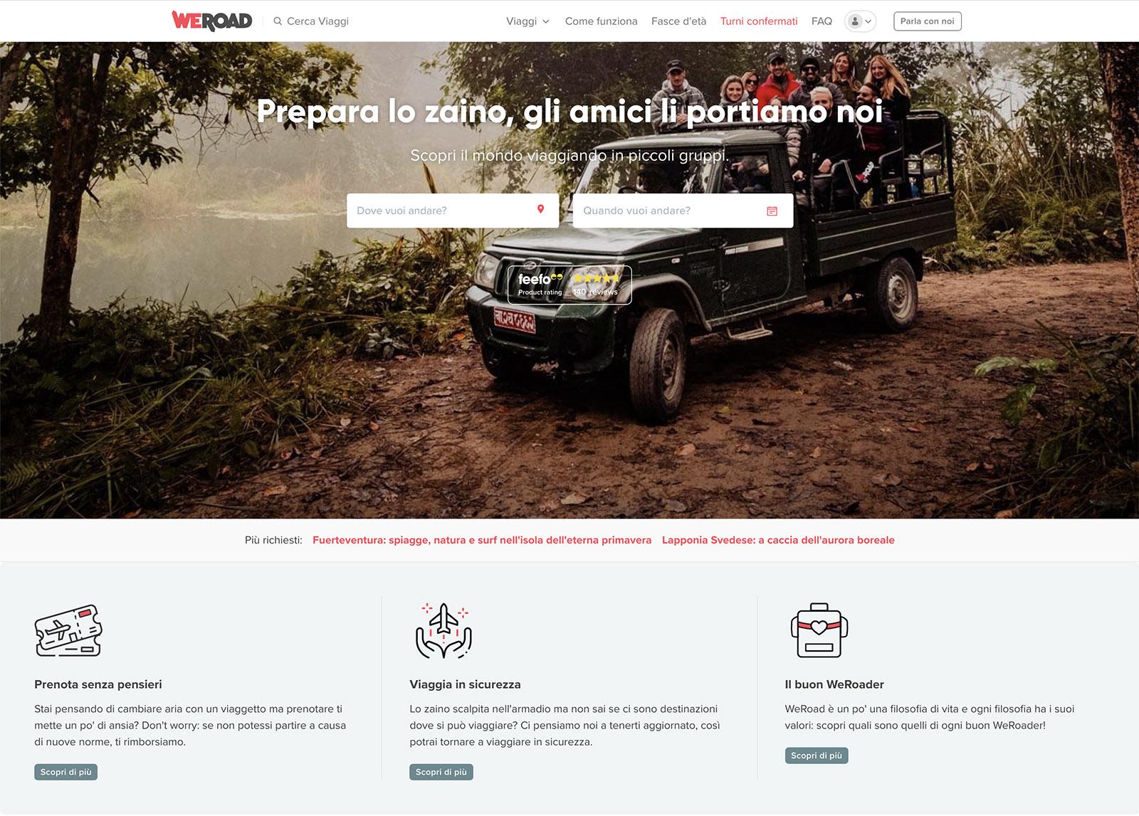 weroad landing page website